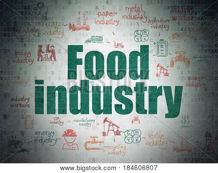 Industry concept: Painted green text Food Industry on Digital Data Paper background with  Scheme Of Hand Drawn Industry Icons