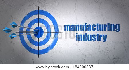 Success Industry concept: arrows hitting the center of target, Blue Manufacturing Industry on wall background, 3D rendering