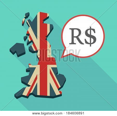 Long Shadow Uk Map With A Brazillian Real Currency Sign