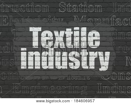 Manufacuring concept: Painted white text Textile Industry on Black Brick wall background with  Tag Cloud