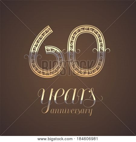 60 years anniversary vector icon symbol. Graphic design element with golden number for 60th anniversary greeting card