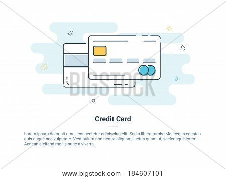 Flat line icon concept of Credit or Debit Card. Isolated vector illustration in light color