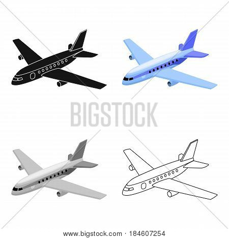 Aircraft for transportation of a large number of people. The safest air transport.Transport single icon in cartoon style vector symbol stock web illustration.