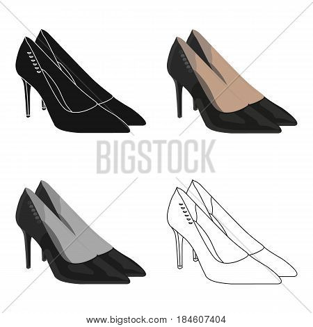 Women's leather shoes with heels. Casual shoes for women dress.  Woman clothes single icon in cartoon style vector symbol stock web illustration.