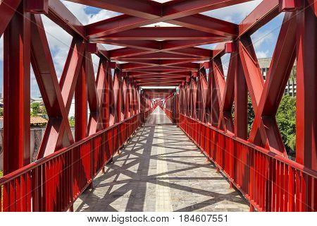 Red Catwalk bridge in Centro Cultural Dragao do Mar (Cultural Center) in Fortaleza, Ceara, Brazil
