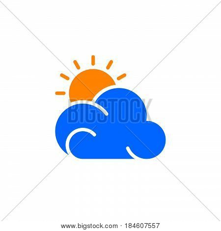 Sun and cloud icon vector filled flat sign solid colorful pictogram isolated on white. Partly cloudy weather forecast symbol logo illustration