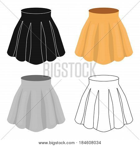 Orange women's light summer skirt with pleats. Beautiful women's summer clothing.  Woman clothes single icon in cartoon style vector symbol stock web illustration.