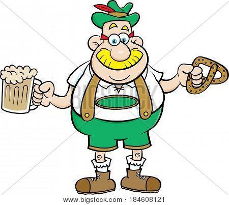 Cartoon illustration of a man holding a beer mug and a pretzel.