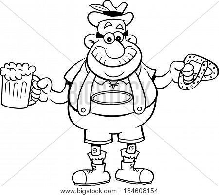 Black and white illustration of a man holding a beer mug and a pretzel.