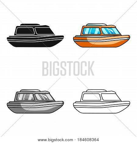 Orange rescue boat.Boat to rescue the drowning persons.Ship and water transport single icon in cartoon style vector symbol stock web illustration.