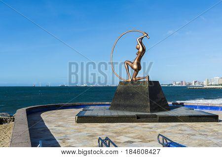 Fortaleza, Ceara, Brazil - Circa May 2016: Iracema Statue in Praia de Iracema beach.