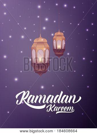 Ramadan Kareem. Illustration with arabic lantern typography and misterious lights
