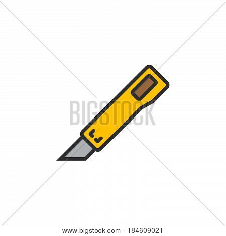 Utility knife line icon filled outline vector sign linear colorful pictogram isolated on white. Symbol logo illustration