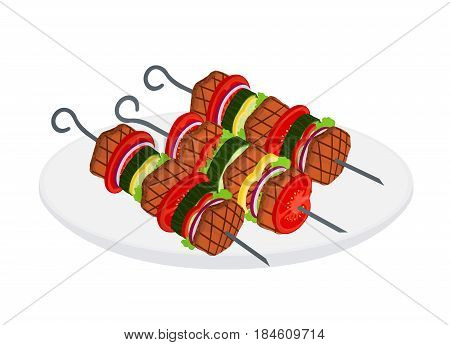 Doner kebab on skewers - fried meat, onion, tomato, cucumber, bell pepper, salad. Made in cartoon flat style.