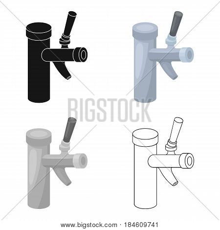 Metal faucet for dispensing cold kvass and beer in bars. Pub pattern icon in cartoon style vector symbol stock web illustration.