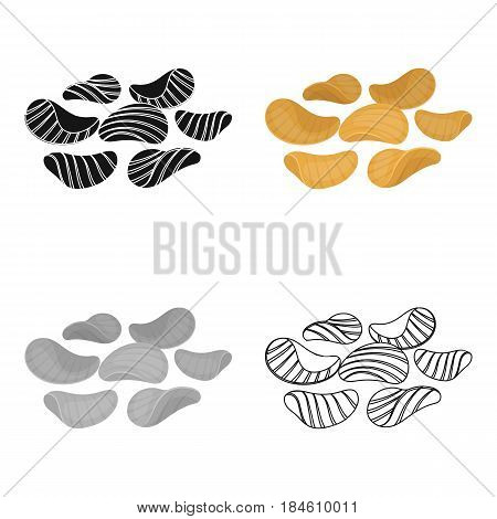 Potato chips with seasoning. Snack to beer. Pub single icon in cartoon style vector symbol stock web illustration.