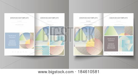 Business templates for bi fold brochure, magazine, flyer, booklet or annual report. Cover design template, easy editable vector, abstract flat layout in A4 size. Minimalistic design with lines, geometric shapes forming beautiful background.