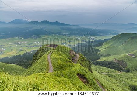 Aso Volcano Mountain And Farmer Village In Kumamoto, Japan