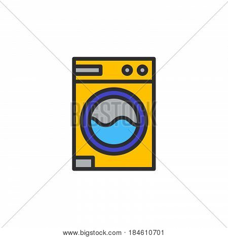 Laundry washing machine line icon filled outline vector sign linear colorful pictogram isolated on white. Symbol logo illustration