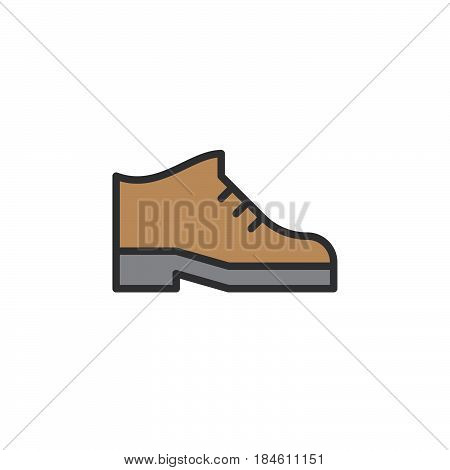 Boots line icon filled outline vector sign linear colorful pictogram isolated on white. Mens shoes footwear symbol logo illustration
