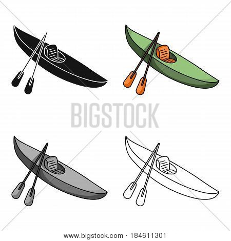 Green kayak for downhill on a mountain river.Sports water transport.Ship and water transport single icon in cartoon style vector symbol stock web illustration.