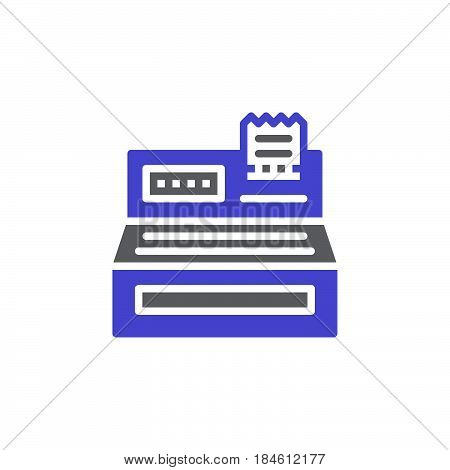 Cash register icon vector filled flat sign solid colorful pictogram isolated on white. Order checkout symbol logo illustration