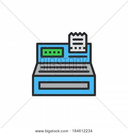 Cash register line icon filled outline vector sign linear colorful pictogram isolated on white. Order checkout symbol logo illustration