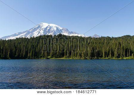 Trees , lake , sea , mountain