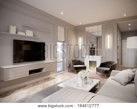 Modern Beige Gray Living Room Interior Design with Large Light Beige Sofa White Fireplace with Mirror and Big TV. 3d rendering