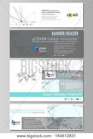 Social media and email headers set, modern banners. Business templates. Easy editable abstract design template, vector layouts in popular sizes. Chemistry pattern, connecting lines and dots, molecule structure on white, geometric graphic background.