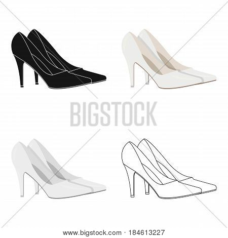 White shoes with heels for the bride. Clothes of the bride.Wedding single icon in cartoon style vector symbol stock web illustration.