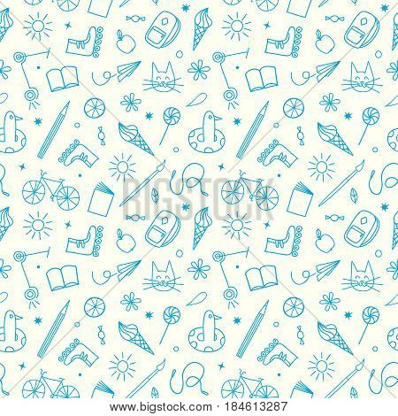 Childhood theme doodle seamless pattern with sweets books bicycle and other children's stuff. Hand drawn background for your design.