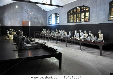 HANOI, VIETNAM - FEBRUARY 25, 2013: The Maison Centrale Hoa Lo Prison was nicknamed the Hilton Hanoi during the Vietnam War by the American soldiers. Captured soldiers were tortured here