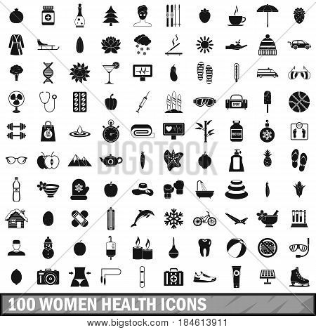 100 women health icons set in simple style for any design vector illustration
