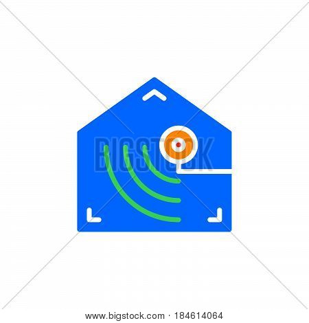 Motion detector icon vector filled flat sign solid colorful pictogram isolated on white. Indoor camera symbol logo illustration