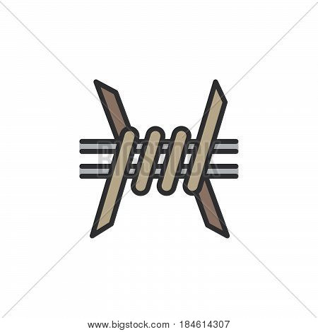 Barbed Wire line icon filled outline vector sign linear colorful pictogram isolated on white. Symbol logo illustration