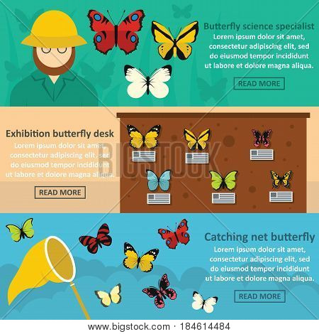 Butterfly desk banner horizontal concept set. Flat illustration of 3 butterfly desk vector banner horizontal concepts for web