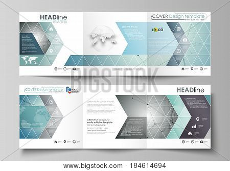 Set of business templates for tri fold square design brochures. Leaflet cover, abstract flat layout, easy editable vector. Geometric background, connected line and dots. Molecular structure. Scientific, medical, technology concept.