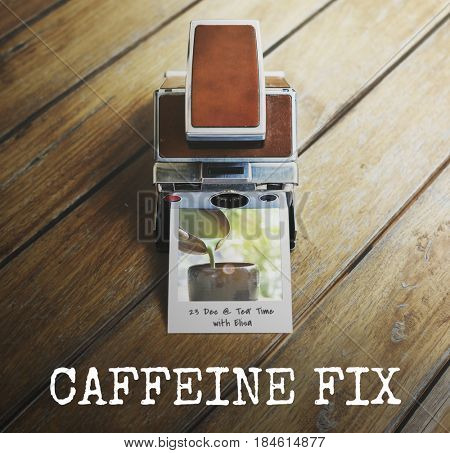 Caffeine fix coffee lover word