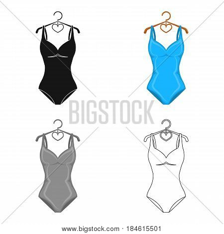 Monotone blue swimsuit for girls. Bathing clothes in the pool.Swimcuits single icon in cartoon style vector symbol stock web illustration.