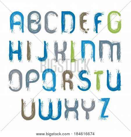 Vector hand-painted vivid capital letters isolated on white background unusual uppercase art script handwritten acrylic font.