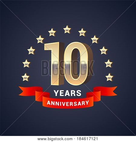 10 years anniversary vector icon logo. Graphic design element with golden 3D numbers for 10th anniversary decoration