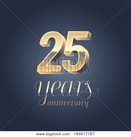 25th anniversary vector icon logo. Gold color graphic design element for 25 years anniversary birthday banner