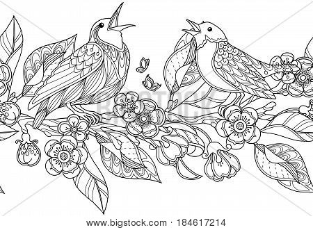 Seamless border pattern in doodle style. Floral, ornate, decorative, garden vector design. Black and white monochrome background. Birds, flowers and leaves. Zentangle coloring book page