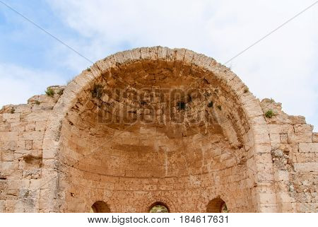 Ruins of Crusader Church of St Anne in Bet Guvrin-Maresha National Park. It was one of the most important towns of Judah during the time of the First Templ