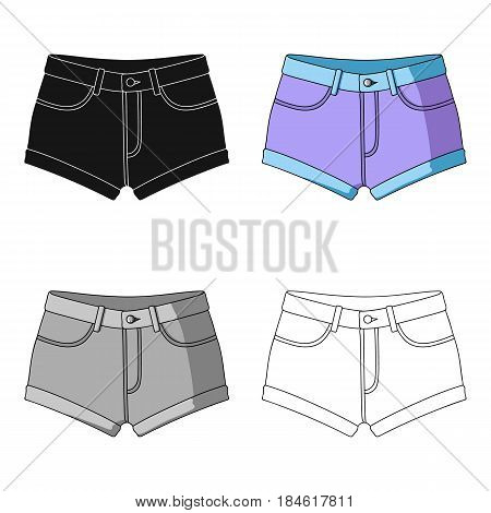 Short purple women's shorts with a blue rubber band. Shorts for sports in the summer on the street.Women clothing single icon in cartoon style vector symbol stock web illustration.