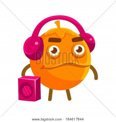 Cute cartoon orange fruit listening to the music with a boombox and headphones, colorful character vector Illustration isolated on a white backgroun