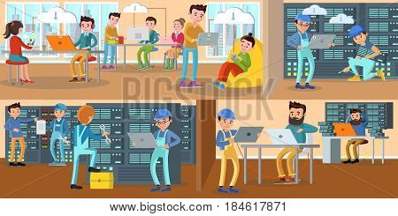 Technology engineer service horizontal banners with cloud storage checking server repairing and data exchange vector illustration