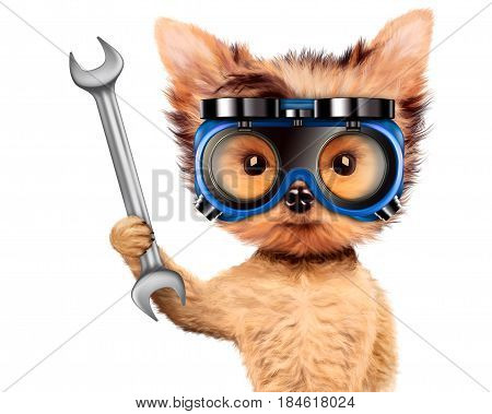 Funny dog in safety glasses with wrench isolated on white background. Concepts for web banners, web sites. Fixing computer and repair center concept with cute dog. 3D illustration with clipping path