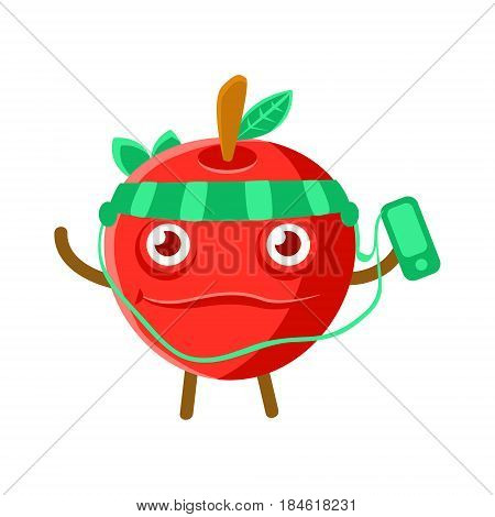 Cute cartoon happy red apple listening to the music with a smartphone and headphones, colorful character vector Illustration isolated on a white backgroun